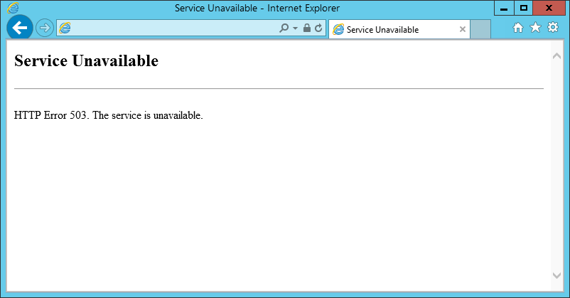 http error 503. The service is unavailable IIS