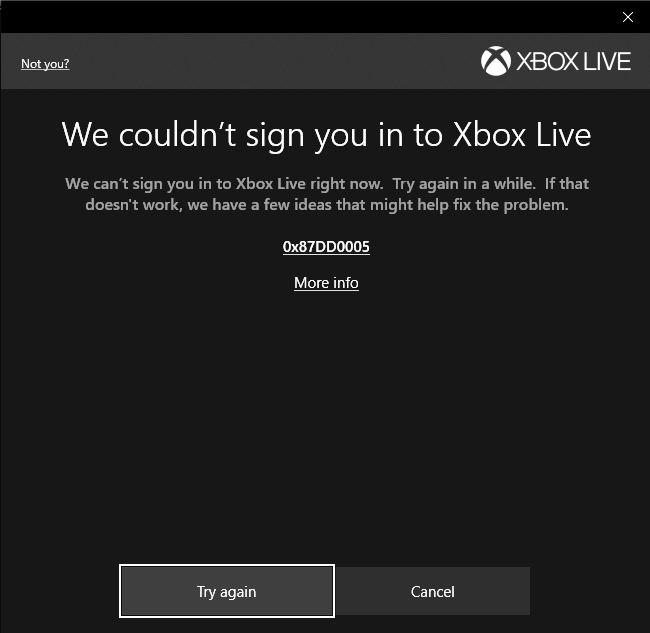 Can't Sign into Xbox Live